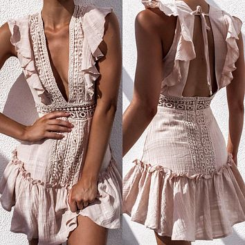 Sloan Ruffle Open-Back Boho Dress