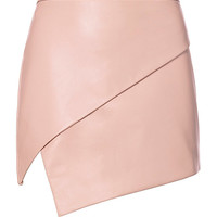 Michelle Mason Asymmetric Hem Leather Mini Skirt - INTERMIX®