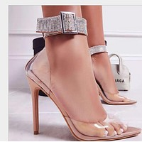 Ladies pointed water drill transparent PVC sexy super high heels  shoes
