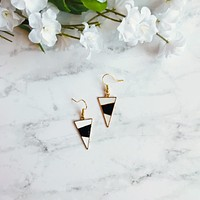 Black and White Single Triangle Drop Earrings