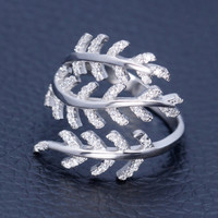 Charming inlaid zircon olive leaf 925 sterling silver opening ring,a perfect gift
