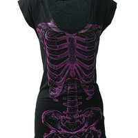 Purple Skele Ribs Fitted T Dress - Darkside Clothing