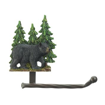 Black Bear with Trees Toilet Paper Holder