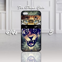 White Lion Collage Hipster Vintage, Design For iPhone 4/4s Case or iPhone 5 Case - Black or White (Option)