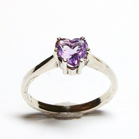 """Amethyst ring, amethyst heart , February birthstone, solitaire ring, purple ring, purple, purple jewelry,   s6 1/4  """"Lily of the Valley"""""""