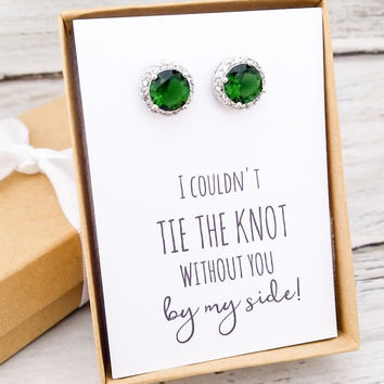 Emerald Green CZ Stud Earrings