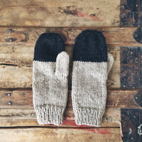 Colorblock Mittens in Stag - Rustic Handknit Wool
