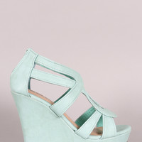 Vegan Leather Strappy Open Toe Platform Wedge