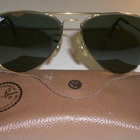 58-14mm VINTAGE B&L RAY BAN ARISTA GOLD PLATED TEAR DROP G15 AVIATOR SUNGLASSES