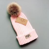 UGG Winter Popular Women Men Warm Knit And Pom Hat Cap Pink