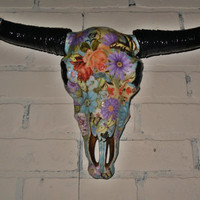 Faux Cow Skull / Wall Art / OOAK / Faux Taxidermy / Longhorn / Antlers / Roses / Shabby Chic / Gypsy / Boho / Shabby Chic Decor