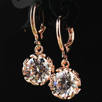Free shipping Fashion New Women/Girl's 18k Gold Plated White Sapphire CZ Stone Dangle Earrings Gift Jewelry