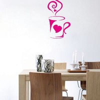 Wall Vinyl Sticker Decal Art Design Coffee Cup Room Cafe Kitchen Nice Picture Decor Hall Wall Chu280