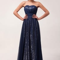 Solid Strapless Shimmering Sequins Chiffon Maxi Dress