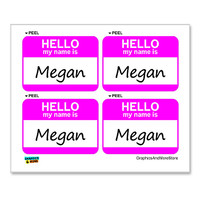 Megan Hello My Name Is - Sheet of 4 Stickers