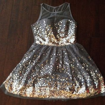 Silver sequined party dress