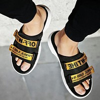 Off White Adidas Slippers More Letters Two Line Men Slippers B-CSXY Black+Gold