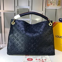 hcxx 969 Louis vuitton Litchi embossed handbag 42-32-16cm Navy Blue