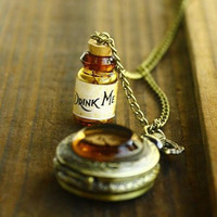 Hot DRINK ME WISHING BOTTLE POCKET WATCH ALICE IN WONDERLAND LONG NECKLACE cl