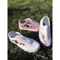 x1love  Vans Classics Old Skool Rose Embroidery Black Sneaker