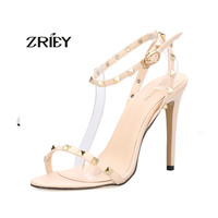 Sexy Ankle Strap Rivets high heels woman open toed sandals Buckle Studded Stilettos shoes ladies party evening shoes