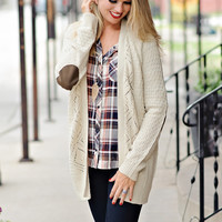 Haven Ivory Cardigan with Suede Elbow Patches