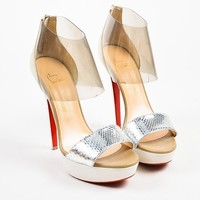 DCCK Christian Louboutin Cream and Silver Suede and Python   Dufoura 140   Sandals