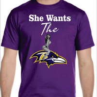 Ravens Logo T-shirt Ladies Men's Baltimore NFL She Wants the D sexy