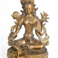 Green Tara Statue Seated with Flower Bonded Bronze Finish 11.5H