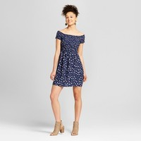 Women's Floral Print Smocked Off the Shoulder Dress - Mossimo Supply Co.™ Navy