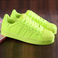 """Adidas"" Fashion Shell-toe Flats Sneakers Sport Shoes Pure color Fluorescent yellow"