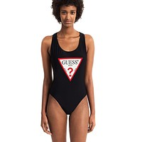 GUESS women's simple solid color inverted triangle LOGO sexy one-piece swimsuit Black