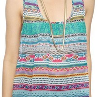 Mixed Stripe Crochet Racerback Tank