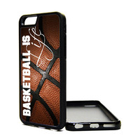 Apple iPhone 6 5C 5S 4S Generation Fitted Rubber Silicone TPU Phone Case Cover Basketball Is Life Hoops Print Love Sports Fan