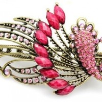 Lovely Vintage Jewelry Crystal Red Peacock Hair Clips - for hair clip Beauty Tools