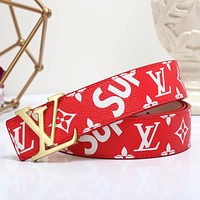 Louis Vuitton LV x Supreme Woman Men Fashion Smooth Buckle Belt Leather Belt