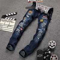 Blue Strong Character Ripped Holes Embroidery Denim Pants Jeans [6541739651]