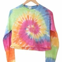 Pastel Rainbow Tie-Dye Cropped Long Sleeve Unisex Tee