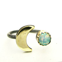 the Opal Lunar Ring by 0RejoiceTheHands on Etsy
