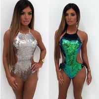 new women one piece swimsuit sequined swimwear bodysuits women female 2018 solid cut out backless halter bandage bathing suits