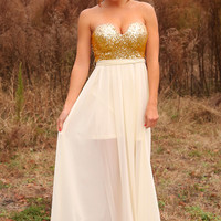 Kiss Me Under The Stars Maxi Dress: Gold/Ivory