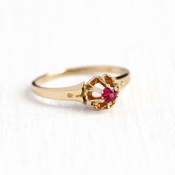 Created Ruby Ring - Vintage 14k Rosy Yellow Gold Red Pink Stone Buttercup Raised Solitaire - Size 4 1/4 July Birthstone Dainty Fine Jewelry
