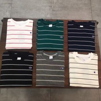 Stripes Navy Tops Summer Couple Cotton Round-neck Short Sleeve T-shirts [11086460231]