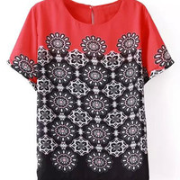 Red Flower Printed Chiffon T-Shirt
