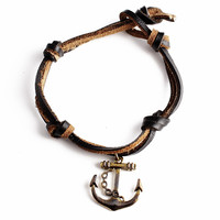 Rusty Golden Bracelet on Leather Cord w/ Anchor
