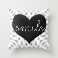 Smile - Typography, Charcoal Heart & Black Polka Dots Throw Pillow by Tangerine-Tane