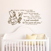 Housewares Vinyl Decal Winnie the Pooh Quote I Want to Be Sure of You Home Wall Art Decor Removable Stylish Sticker Mural Unique Design for Room Baby Kid Nursery
