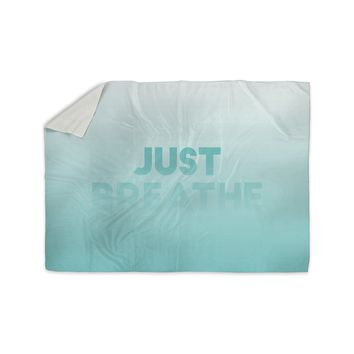 "KESS Original ""Just Breathe"" Blue Teal Sherpa Blanket"