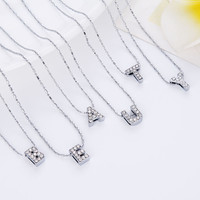 Brand Design Initial  Letters Crystal Silver  Necklace Women Sweater Chain Best Friends Gift Jewelr Free Shipping