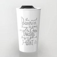 """The Little Prince quote """"the most beautiful things"""" Travel Mug by simpleserene"""